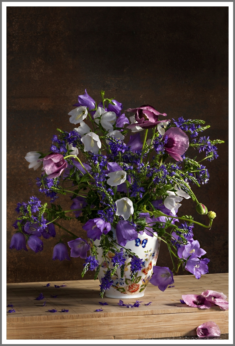 purple and pink field bouquet in a vase